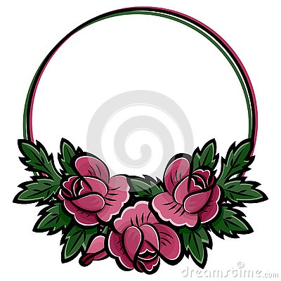 Free Decorative Round Flower Frame With Pink Roses, Buds And Green Leaves Black Stroke. Vector Illustration. Stock Image - 145220631