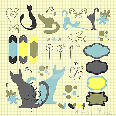 Decorative scrapbook elements set