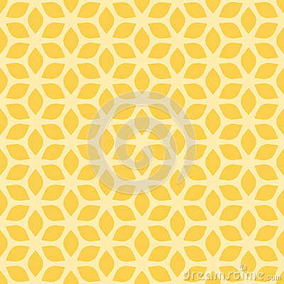 Decorative Seamless Floral Geometric Yellow Pattern Background Vector Illustration