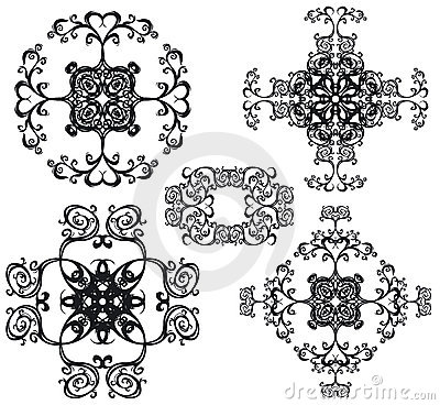 Decorative set cross III b&w