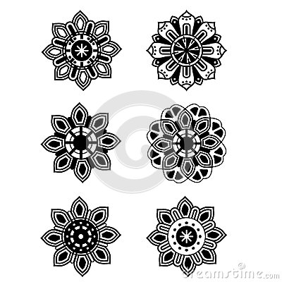Decorative Set Design Flowers Royalty Free Stock ...