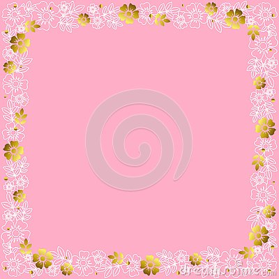 Free Decorative Square Frame Of White Outline And Golden Flowers And Leaves On Pink Background Stock Image - 129985361