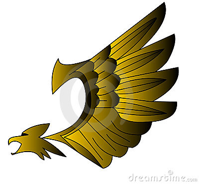 Decorative, stylized, gold(en) eagle.