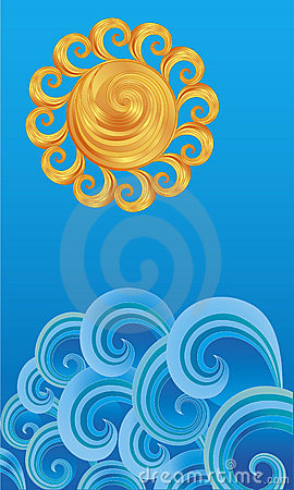 Decorative sun over the waves