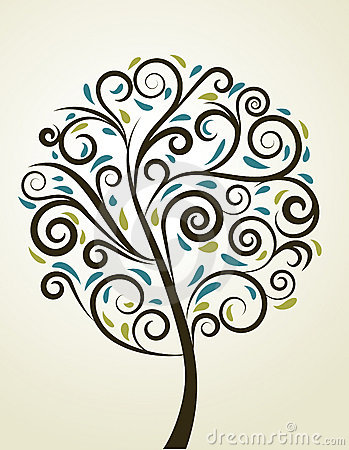 Decorative swirl floral tree, vector