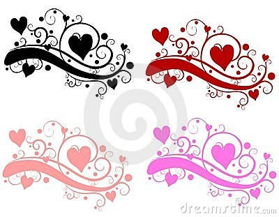 Decorative Swirls Valentine s Day Hearts