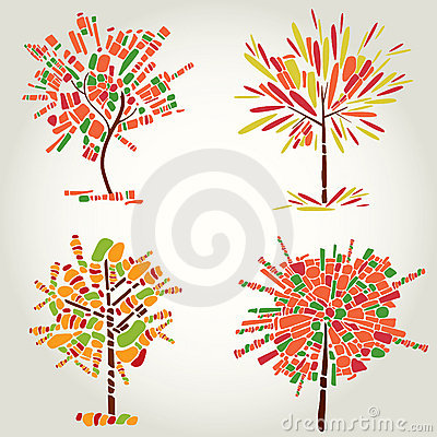 Decorative tree from mosaic. Thanksgiving
