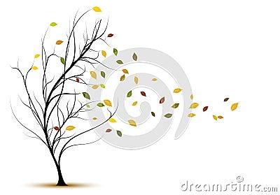 Decorative vector tree silhouette in autumn