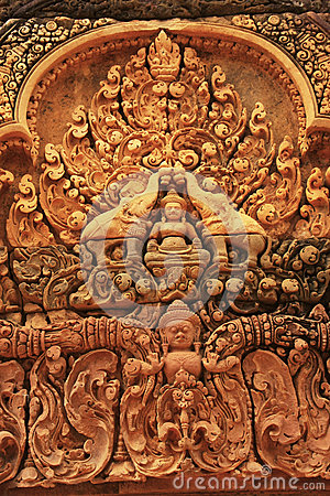 Free Decorative Wall Carvings, Banteay Srey Temple, Angkor Area, Siem Reap, Cambodia Royalty Free Stock Images - 29306499
