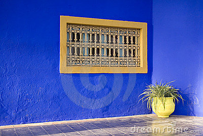 Decorative window on blue