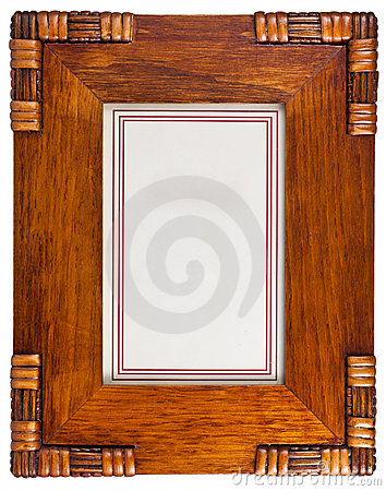 Decorative wooden photo frame isolated on white