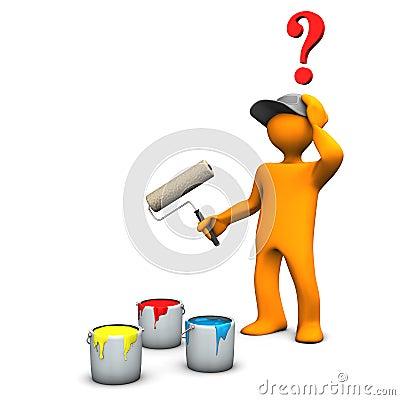 Decorator choosing paint color