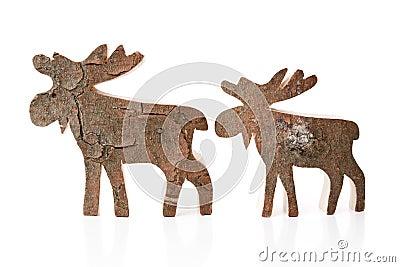 Decorazione di legno di natale renna o alci isolati for Piccoli oggetti in legno fatti a mano