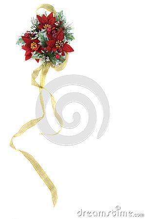 Decorazione di natale del Poinsettia con il nastro dell oro
