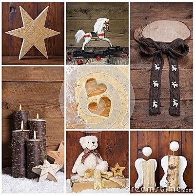 decorazione naturale di natale con legno oggetti