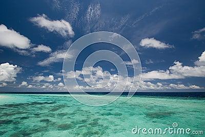 Deep blue sky and ocean