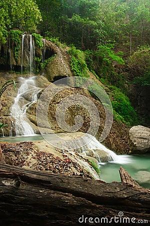 Deep forest Waterfall in Erawan Kanchanaburi, Thailand