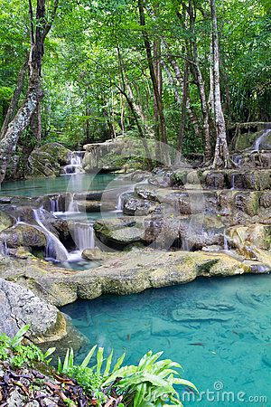 Deep forest waterfall (Erawan Waterfall) in Thailand