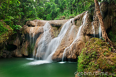Deep forest Waterfall in jungle