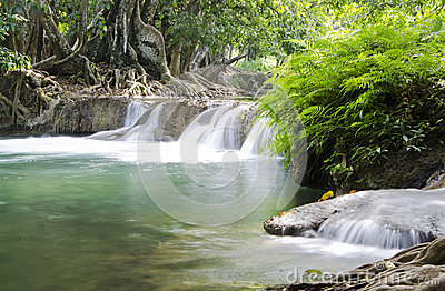 Deep forest Waterfall in Saraburi, Thailand