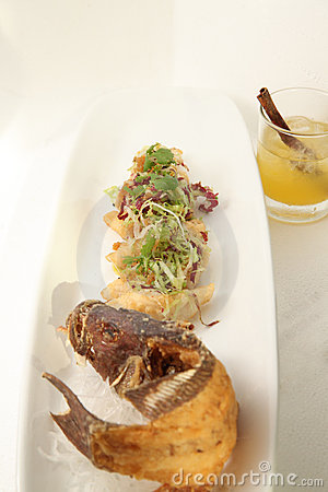 Deep fried seafood on white background