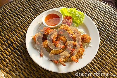 Deep fried tiger prawns