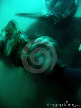 Deep horror wreck diving scuba diver