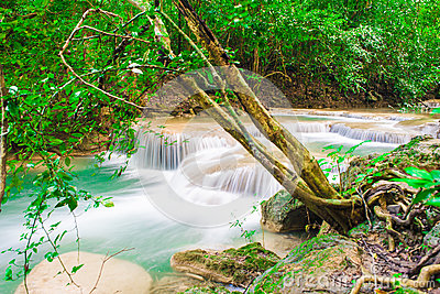 Deep jungle forest Waterfall in Kanchanaburi, Thailand