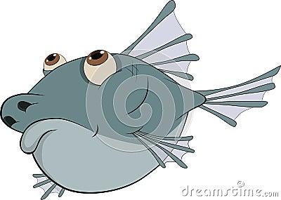Deep-water fish. Cartoon