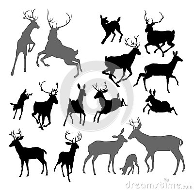 Free Deer Animal Silhouettes Royalty Free Stock Photo - 34028785
