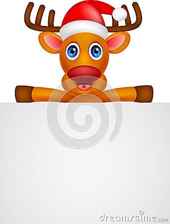 Deer cartoon Christmas with blank sign