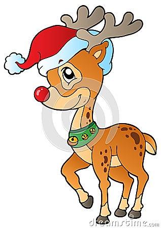 Deer with Christmas cap 1