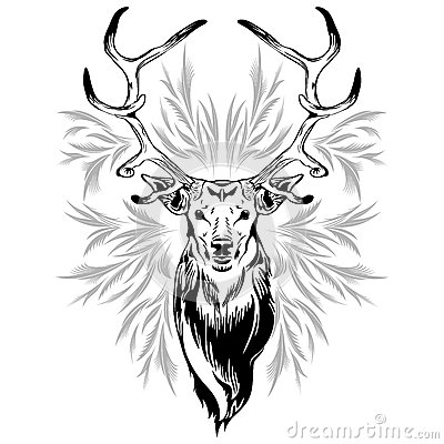 Deer Head Tattoo Style