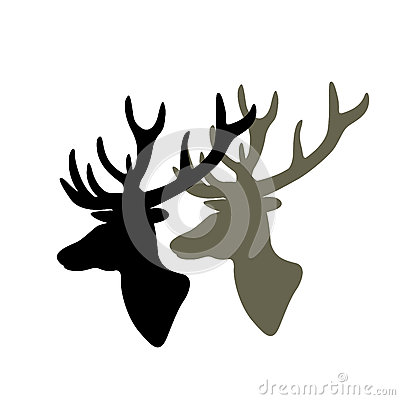 Deer head vector illustration black silhouette Vector Illustration