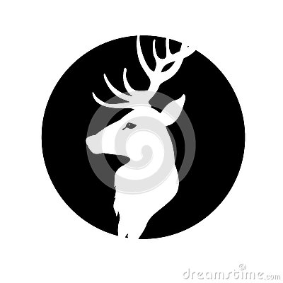 Deer head vector illustration black silhouette Vector Illustration
