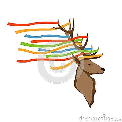 Deer head vector illustration style flat Vector Illustration