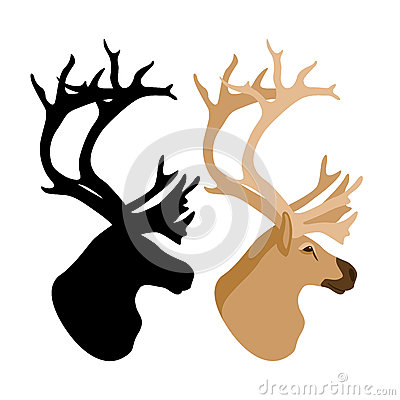 Deer head vector illustration style Flat set Vector Illustration