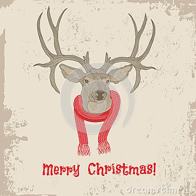 Free Deer Head Vintage Christmas Card Stock Image - 32923251