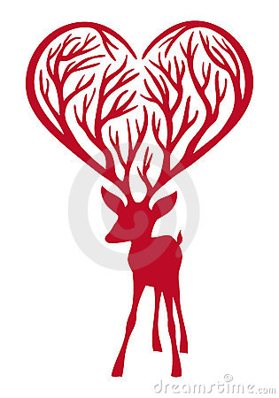 Deer with heart antlers