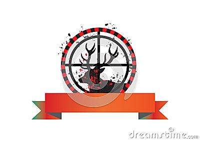 Deer hunt banner - vector