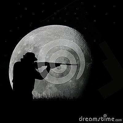 Deer hunter and full moon