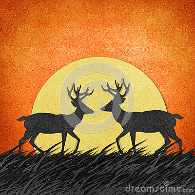 Deer Made From Recycled Paper Craft Background Royalty Free Stock Photography - Image: 26361347