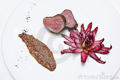Deer medium rare with radicchio
