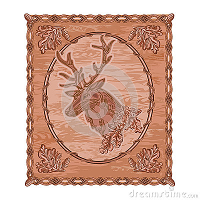 Deer and oak woodcarving hunting theme vintage vector