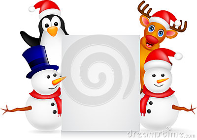 Deer,penguin and snowman with blank sign