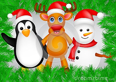 Deer,penguin and snowman christmas
