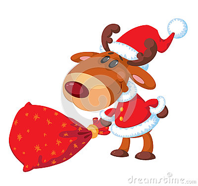 Deer Santa with bag