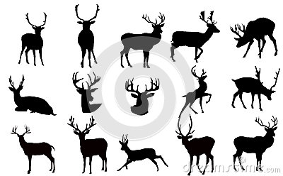 Deer Silhouette set- illustration
