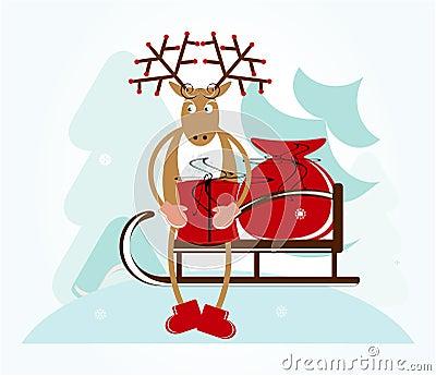 Deer with sleigh