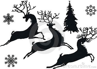 Deer and snowflake silhouettes